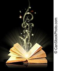 åben bog, trylleri, på, sort
