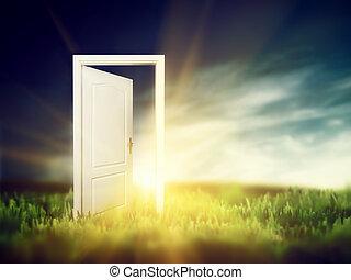 åben dør, på, den, grønne, field., begrebsmæssig
