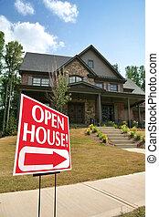åben hus, tegn, uden for, en, nyt hjem