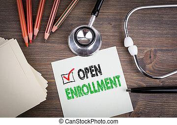 åbn, enrollment., arbejdspladsen, i, en, doktor., stetoskop, på, af træ, desk.