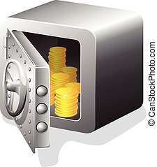 åbn, guld mønteter, pengeskab