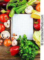 åbn, notesbog, og, friske grønsager, baggrund., diæt