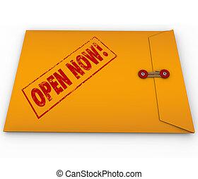åbn, nu, gul konvolut, hastende, kritisk, information