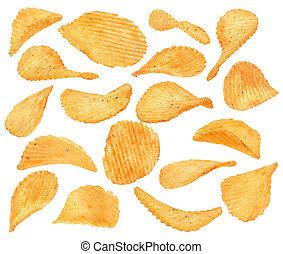 ådrad, potatisarna, mellanmål, kollektion, med, peppar, isolerat, vita