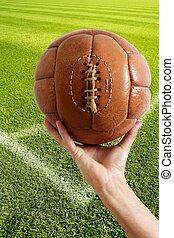 åldrig, årgång, retro, fotboll, läder, boll