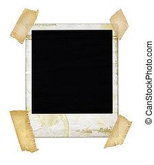 åldrig, polaroidkamera, med, tejpa