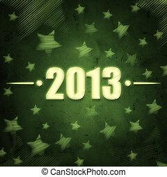 år, 2013, över, grön, retro, bakgrund, med, stjärnor