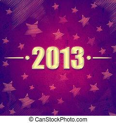 år, 2013, över, violett, retro, bakgrund, med, stjärnor