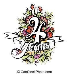 år, design, 4, kort, hälsning