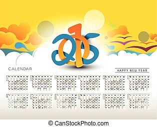 år, färsk, kalender, 2015