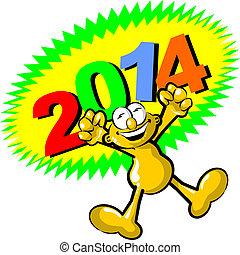 år, hurra, färsk, 2014, har, komma