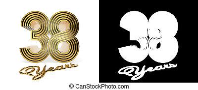 år, numrera, trettioåtta, firande