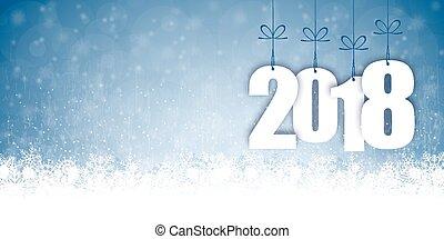 år, sne, 2018, baggrund, fald, nye, jul
