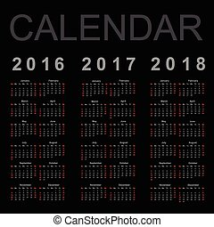 år, vektor, 2016, 2018, kalender, 2017