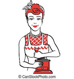 årgång, 1950s, kvinna, förmalning, kaffe