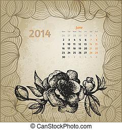 årgång, 2014., körsbär blomstra, serie, variant, penna, en, botanisk, calendar., sekund, artistisk, bläck, oavgjord, kalender, hand, juni, template., kort