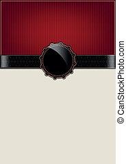 årgång, abstrakt, röd kort