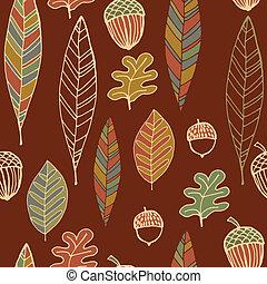 årgång, abstrakt, seamless, höst, mönster, bladen