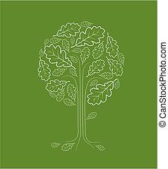 årgång, abstrakt, träd