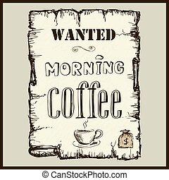 årgång, affisch, in, vilda västerut, stil, -, viljat, morgon, coffee.