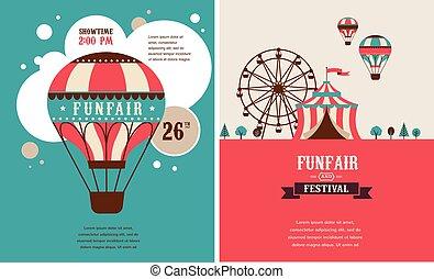årgång, affisch, med, karneval, kul ärliga, cirkus, vektor,...