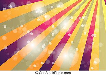 årgång, affisch, med, regnbåge, färg, solstrålar, och, bokeh