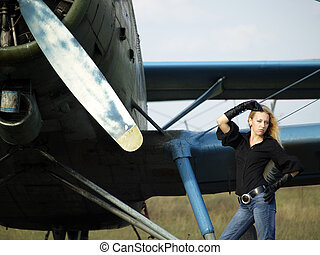 årgång, airplane, kvinna, ung