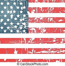 årgång, amerikan, strukturerad, flagga