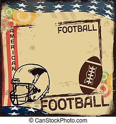 årgång, amerikansk fotboll, affisch, eller, ram