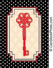 årgång, antikvitet, nyckel, gobeläng