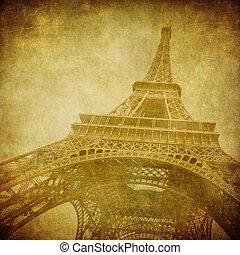 årgång, avbild, eiffel, paris, frankrike, torn