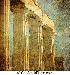 årgång, avbild, kolonner, akropol, grek, grekland, aten