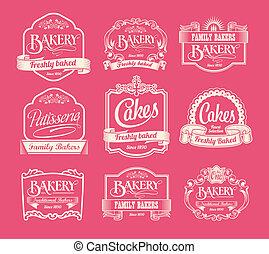 årgång, bageri, etiketter