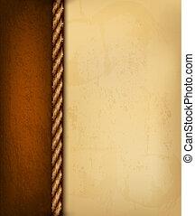 årgång, bakgrund, med, gammal, papper, och, brun, leather.,...