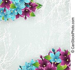 årgång, bakgrund, med, lila, blomningen