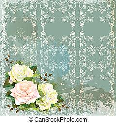 årgång, bakgrund, med, roses., efterbildning, av, vattenfärg, painting.