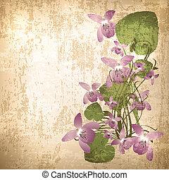 årgång, bakgrund, med, vild, viol blommar