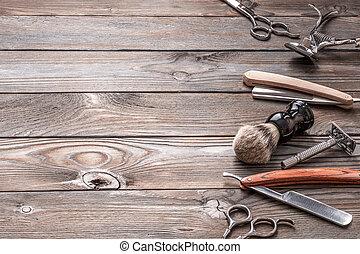 årgång, barberaren shoppar, redskapen, på, trä, bakgrund