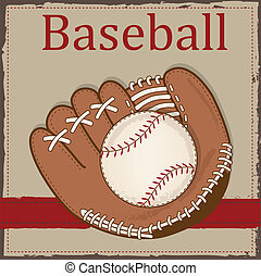 årgång, basebollhandske, baseball, eller, handske