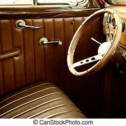 årgång bil, interior.