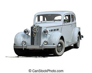 årgång bil, isolerat, retro, bröllop, vit, dröm, lyxvara