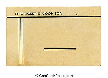 årgång, biljett, vit
