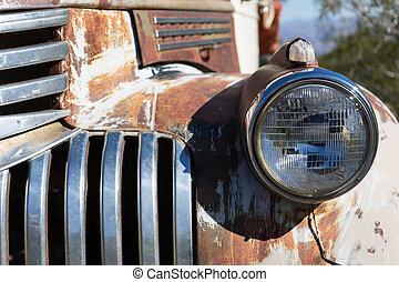 årgång, billykta, närbild, bil