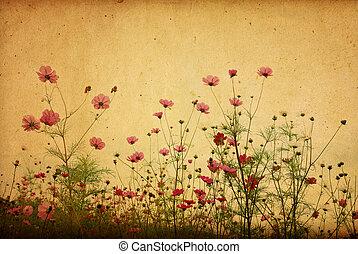 årgång, blomma, papper, bakgrund