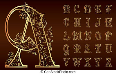 årgång, blommig, alfabet, sätta