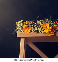 årgång, blommig, bakgrund, med, blomningen