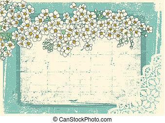 årgång, blommig, bakgrund, med, grunge, dekor, ram, för,...