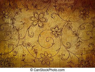 årgång, blommig, papper, med, grunge, verkan