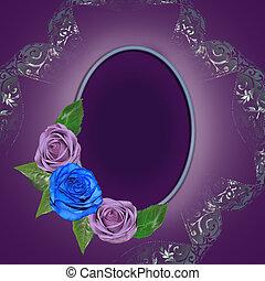 årgång, blommig, runda, ram, med, ro, och, krullat, band, dekorerat