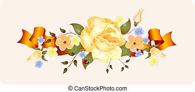 årgång, blomningen, med, band